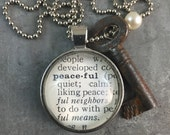 One Word Pendant with Vintage Key - Peaceful