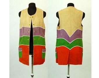 1970s suede vest color blocked orange purple green mod vest Young Dimensions Saks Fifth Avenue Size M
