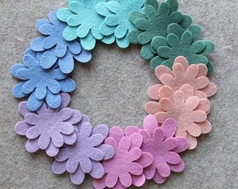 Watercolors - Mini Daisies - 24 Die Cut Wool Blend Felt Flowers