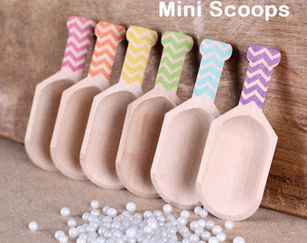 "Mini Wooden Scoops, Girls Rainbow Chevron Stamped Scoops, Mini Sprinkle Scoops, Mini Candy Scoops, Candy Buffet Scoops (3"" - 6 ct)"