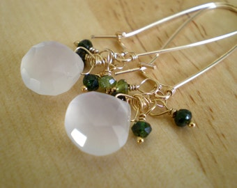 Dew Drop Earrings- Chalcedony, Green Tourmaline, Goldfill