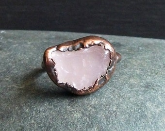 Rose Quartz Ring Copper Ring Size 5 Crystal Ring Gemstone Ring Rough Stone Ring Pink Rose Artisan Handmade Copper Gemstone Jewelry for Her