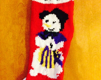 Mrs. Snowman Christmas Stocking, Personalized Stocking, Knit Stocking Red, Christmas Stocking