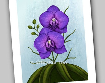 Purple Vanda Orchid Flowers Art Print, Sale