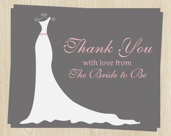 Bridal Shower Thank You Cards, Wedding, Dress, Gray, White, Pink, Set of 24 Printed Notes with Envelopes, FREE Ship, SIGOP, Simple Gown Pink