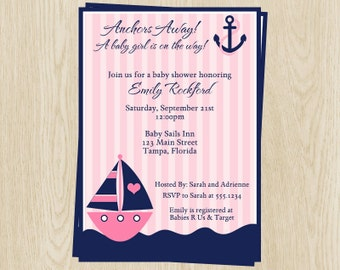 Nautical, Baby Shower Invitations, Girls, Pink, Sailboat, Anchors Away, Sprinkle, Stripes, Anchors Away, 10 Printed Invites, FREE Shipping