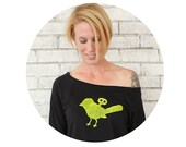 READY to SHIP XL Wind Up Bird Slouchy Sweatshirt, Black and Yellow, Hand Screen-printed, Ladies Clothing, Off The Shoulder Sweat Shirt