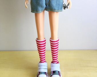 Blythe Long Sock, Chocking Pink and White Stripe, Vintage Inspired