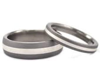 Matching Titanium and Sterling Silver Wedding Ring Set: 6HR12GSND.3HR11GSND