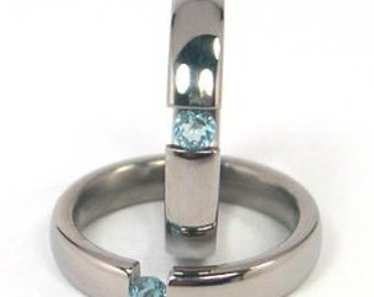4mm Titanium Tension Set Ring, Aquamarine Bands, Free Sizing 4.5-11: Z4HR-P-Ten-Aquamarine