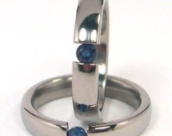 New 4mm Titanium Tension Set Ring, Sapphire Band, Free Sizing 4.5-11: Z4HR-P-Ten-BlueSapphire