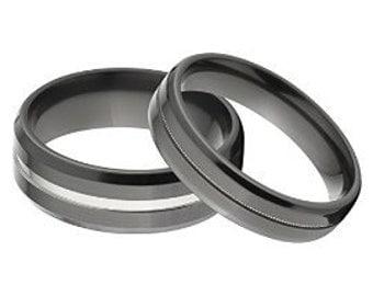 His and Her's Matching Ring Set, Black Zirconium Rings: BZ-8B1CG - BZ8B1CG-MLGRN