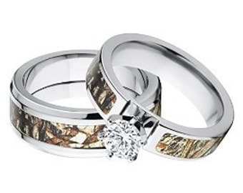 His and Her's Matching Mossy Oak Duck Blind Camo Wedding Ring Set: 6F14G1RCTW_DuckB - 8T_DuckB