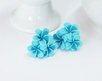 CLEARANCEBlue Earrings/Flower Earrings/Two Tone Blue Earrings/Bouquet Post Earrings/Flowers Post  Earrings