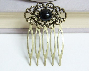 SMALL/Black Onyx  Vintage Hair Comb/Semi-Precious Stone Hair Comb/Vintage Hair Comb/Antique Brass Decorative Hair Comb/Five Teeth Hair Comb