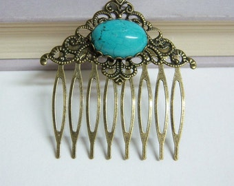 Antique Brass Turquoise Hair Comb/Vintage Eight Teeth Hair Comb/Semi-precious Stone Vintage Hair Comb/Decorative Vintage Hair Comb