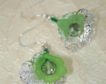 Green Flower Dangle Earrings, Filigree Earrings, Sterling Silver Earwires or Clip On Earrings
