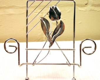 Set of Four Vintage Mid Century Chrome Tulips Place Holders