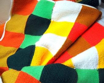 Vintage 1970's Retro Afghan Throw Blanket