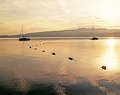 Saliboats photograph -Sailboats on the Water fine art print - New England, Maine Lake, gold, black, sunrise, summer