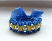 Cerulean Blue and Lemony Yellow  Twilly Stripe Ribbon Bracelet  Fashion Jewelry Statement Bracelet Handmade Pearl Bracelet.