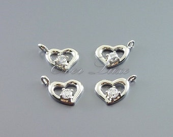 4 tiny heart charms | wedding jewelry supplies using CZ crystals 1038-BR