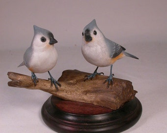 Tufted Titmouse Pair Hand Carved and Hand Painted Wooden bird