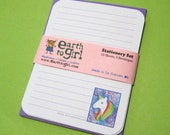 Rainbow Unicorn Stationery Set - Powder Blue Paper with Purple Envelopes