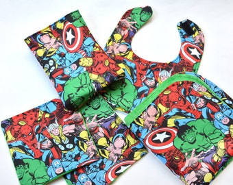 Baby Bib Set Baby Shower Gift, Marvel Baby Super Hero Washcloths Security Blanket, Changing Pad Infant Burp Rags