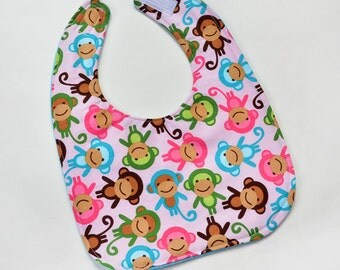 Toddler Girl Bib Drool Bib Cute Baby Bib with Colorful Monkeys, Toddler Gift for New Mom, Feeding Bib