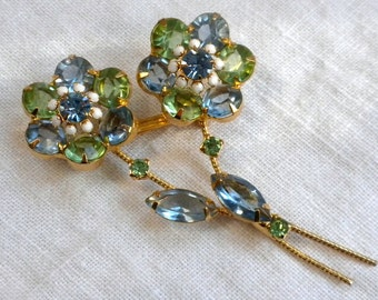 Rhinestone Flower Bouquet Brooch Pale Blue and Green