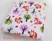 Baby blanket /XL flannel baby blanket/ fox baby blanket/ baby girl blanket / picnic foxy girl