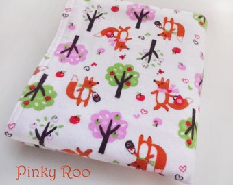 Baby blanket /XL flannel baby blanket/ fox baby blanket/ baby girl blanket / picnic foxy girl