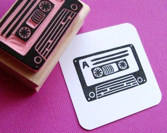 Cassette Hand Carved Rubber Stamp - Music Stamper - Gift Music Lover - Retro Gift - 80s Gift - Music Present  - Card making - Scrapbooking