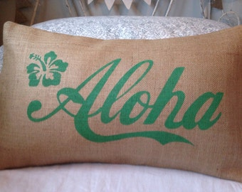 SALE - SHIPS IMMEDIATELY Aloha green Hawaii burlap pillow hessian cushion cover