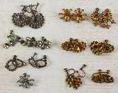 Lot of Vintage New Old Stock Silver and Gold Screw Back Earring Finding Blanks