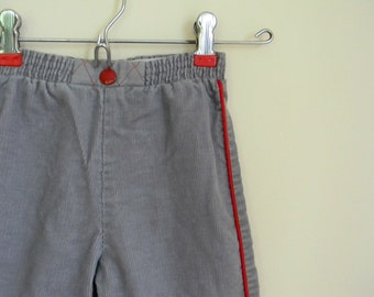 Vintage Baby's Gray Corduroy Overalls with Red Trim - Size 6-12 Months