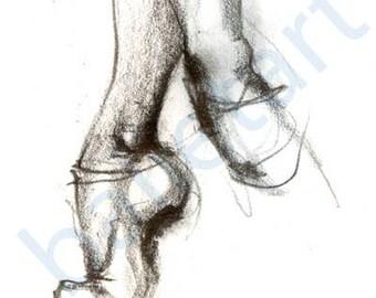 Ballet Art, Ballet Slippers, art print, pencil drawing, black and white art, dance teacher gift, dance gifts, ballet wall art, dance artwork