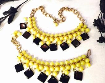 Art Deco Retro 1940s Yellow Black Geometric Cha Cha Bib Necklace Art Deco Jewelry