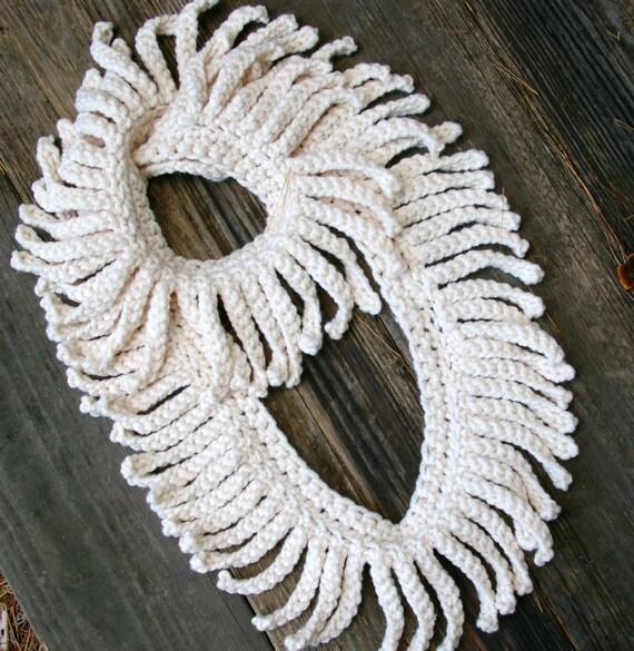Crochet Infinity Scarf With Fringe Pattern : Crochet Pattern PDF Infinity Scarf with Eyelash Fringe Loop