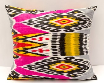 21x19 ikat pillow cover, bright pink gray yellow pillow cover cushion case