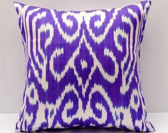 18x18 violet ikat pillow cover, cushion, silk cotton ikat, violet cushion. violet design