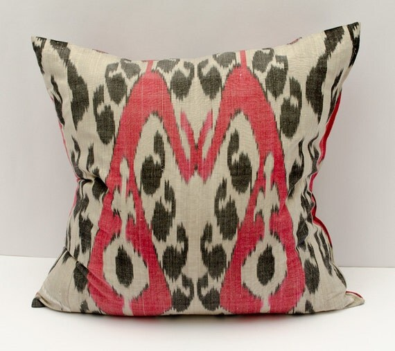 20x20 ikat pillow cover, red, black, cream pillow cover cushion case puce kisses pillowcase home pillow design pillow decorative