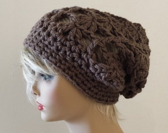 Beanie HAT Slouchy Tam in Mocha, Crochet Knit Slouchy Hat, Tam Beret Hat, Perfect GIFT Fall Winter Hat, Travel Chemo Hat, Cozy Slouchy Hat