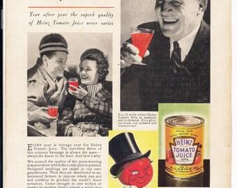 Heinz Tomato Juice Advertisement Vintage 1937 Color Illustration National Geographic Magazine Original Back Cover