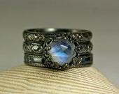 Rainbow Moonstone Ring, Renaissance Rings, Antiqued Silver Ring, Matching Pair, Wedding Band- Engagement Ring