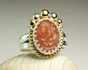 Gold Sunstone Ring, Hand Carved Face Stone, Gypsy Ring, Unique Jewelry, custom sized