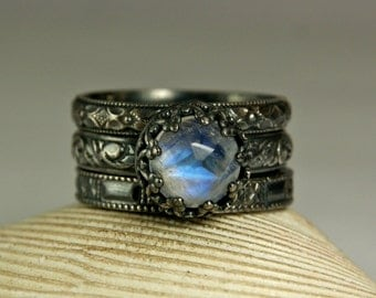 Rainbow Moonstone Ring, Renaissance Rings, Antiqued Silver Ring, Matching Pair, Wedding Band- Engagement Ring