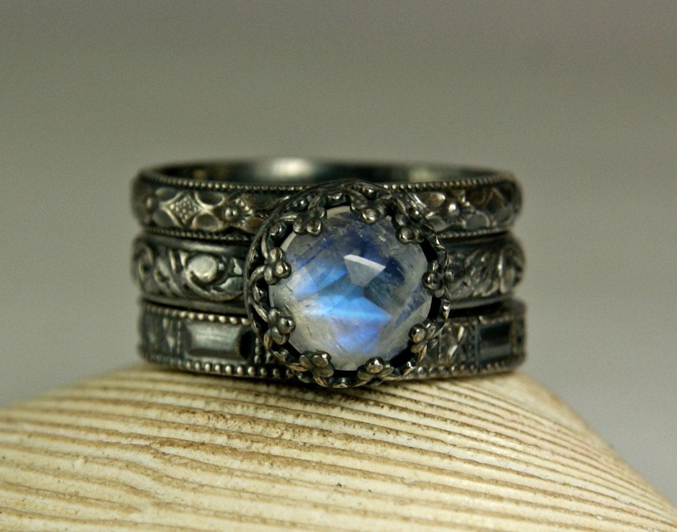 Rainbow Moonstone Ring Renaissance Rings Antiqued Silver