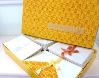 Vintage Eaton Crane and Pike Stationery 1960s Gold Velvet Covered Box With Note Paper and Envelopes